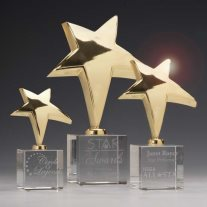 3843 Gold Rising Star Trophies on optical crystal base
