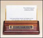 542 Rosewood piano-finish business card holder with brass accent