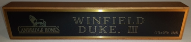 NBW10 Walnut name bar sign with brass plate..