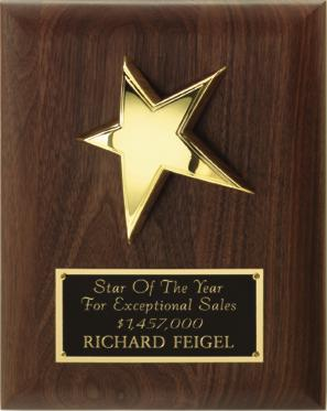 P1132 Walnut Star Plaque